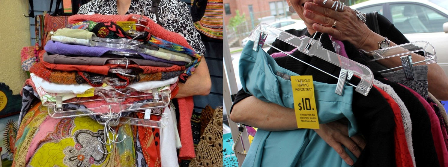 Hugging clothes for Rose Brooks Center - donating and buying