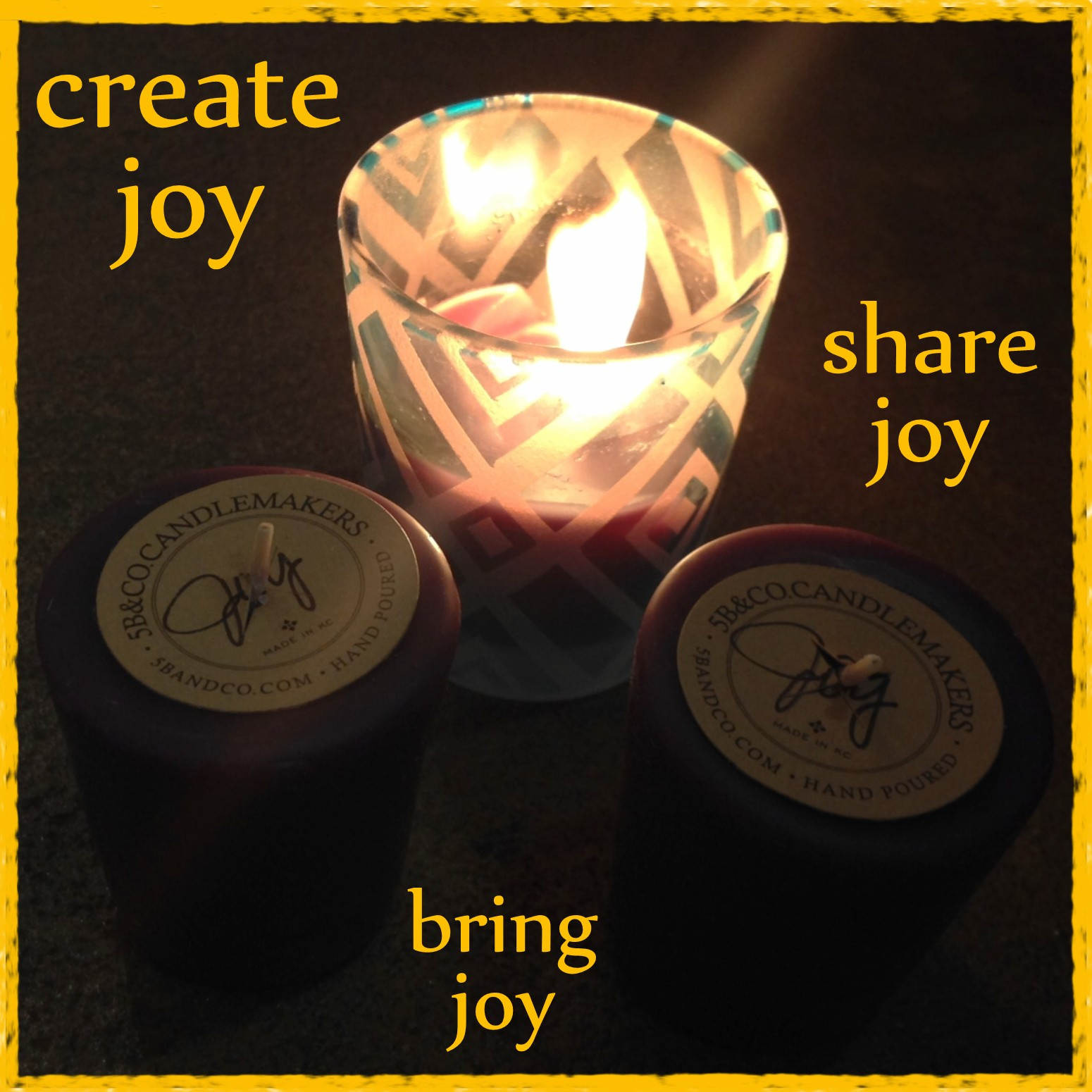 Joy Candles at World's Window custom scented and made by 5B@Co Candlemakers in Kansas City, Missouri