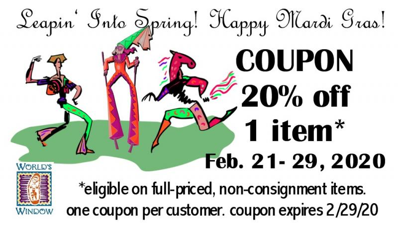 Celebrate Leap Year and Mardi Gras with a Twenty Percent off Coupon at World's Window in Brookside, Kansas City, Missouri