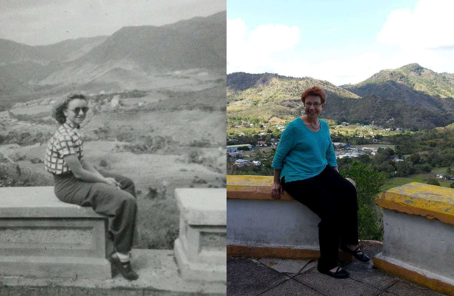 Ruth and Jan sitting in the same spot above La Plata Puerto Rico Aibonito area