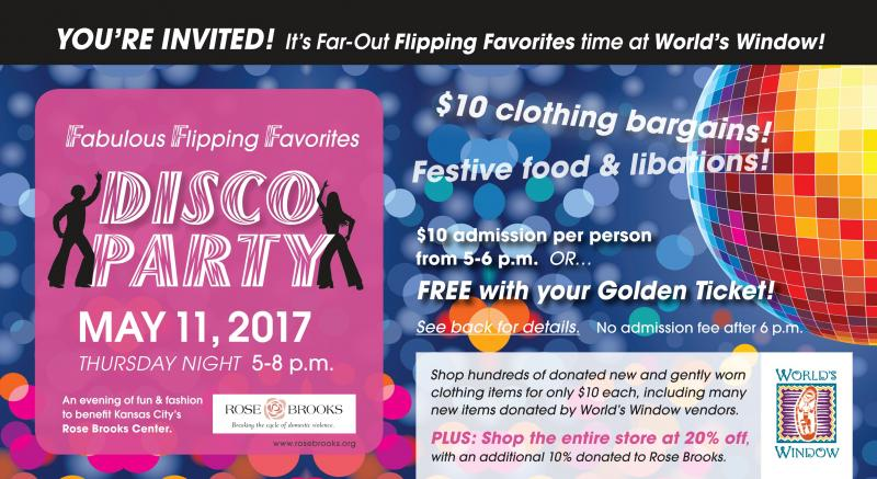 Clothing buying benefit for Rose Brooks Center on Thursday, May 11 from 5 to 8 pm at World's Window in Brookside