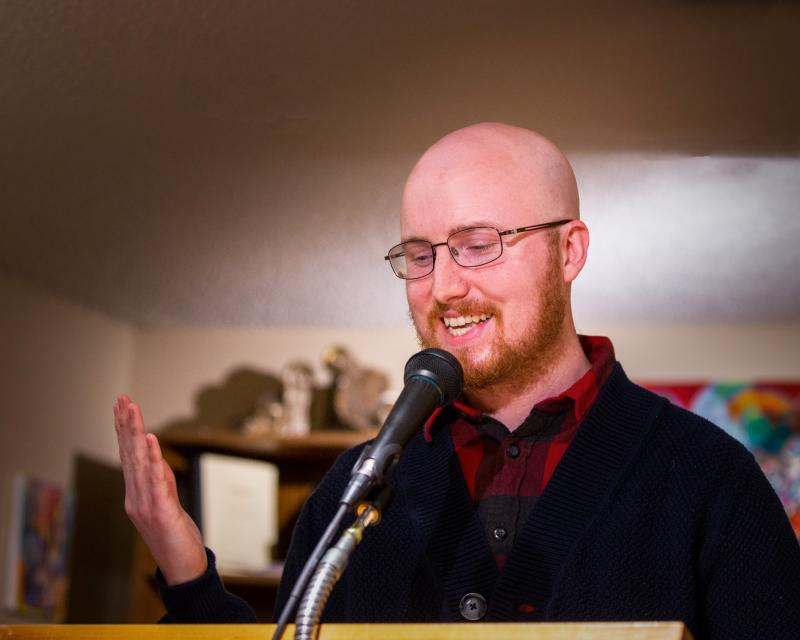 Cameron Morse, poet, who will launch his newest collection of poems, Baldy, at World's Window in Brookside, Kansas City, Missouri on April 3 from 7 to 9 p.m.