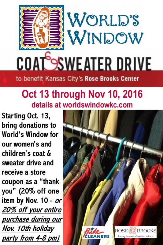 Coat and sweater drive for Rose Brooks Center in Kansas City Missouri to help fight domestic violence