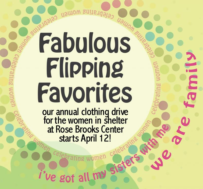 Fabulous Flipping Favorites clothing drive at World's Window starts April 12, 2019. Benefit for the domestic violence shelter at Rose Brooks Center.