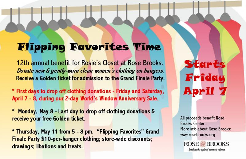 Flipping Favorites Clothing Drive starts April 7, 2017 at World's Window