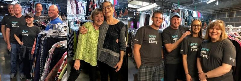 Volunteers helping with clothing donations for Flipping Favorites at World's Window, Kansas City, Missouri