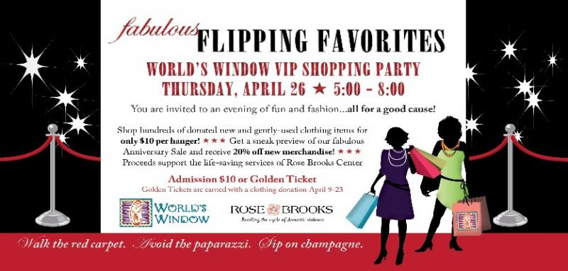 Flipping Favorites Party for Rose Brooks Center and World's Window Anniversary Sale Kick-off Thursday, April 26