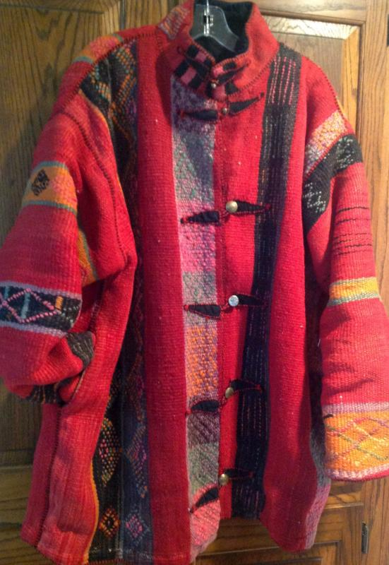 For silent auction - hand-stitched coat made from a Moroccan kilim rug