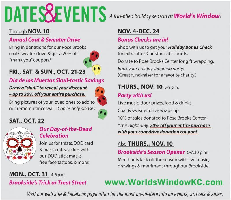 Fall events at World's Window Day of the Dead Coat Drive Nativities Holiday Open House