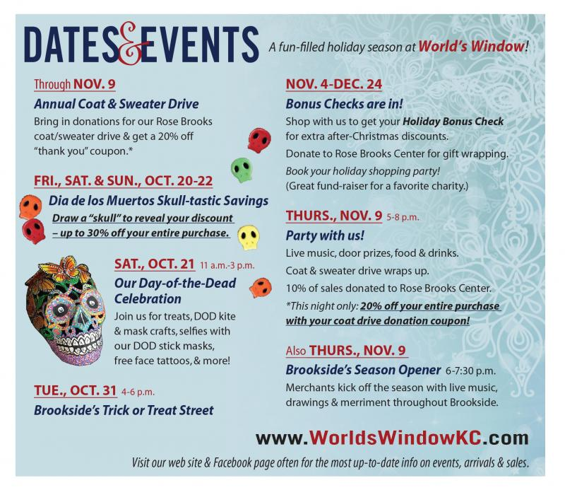 October and November events at World's Window in Brookside, Kansas City, Missouri