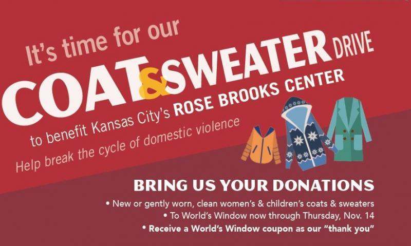 Coat and Sweater Drive for Rose Brooks Center Starts October 11. Share warmth with women and children in shelter escaping domestic violence