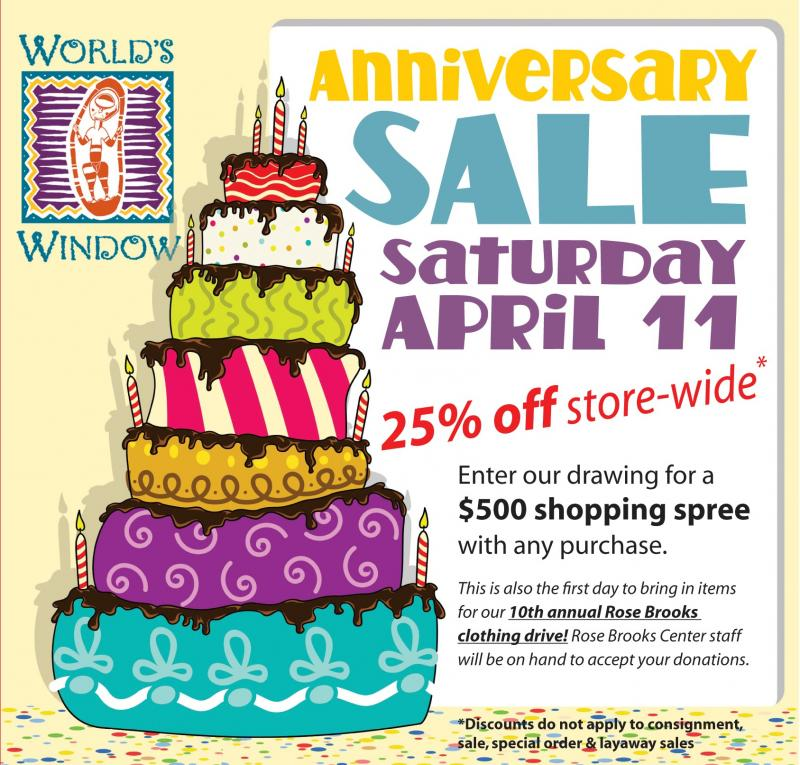 World's Window Anniversary Sale Saturday April 11, 2015